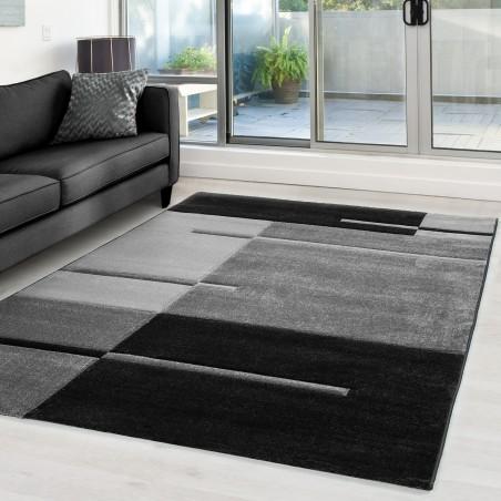 Designer Teppich Modern Kariert Linien Muster Konturenschnitt Schwarz Grau