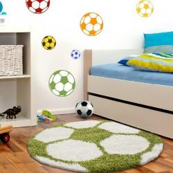 Kinderteppich für Kinderzimmer Fussball form Hochflor Teppich Grün-Weiss