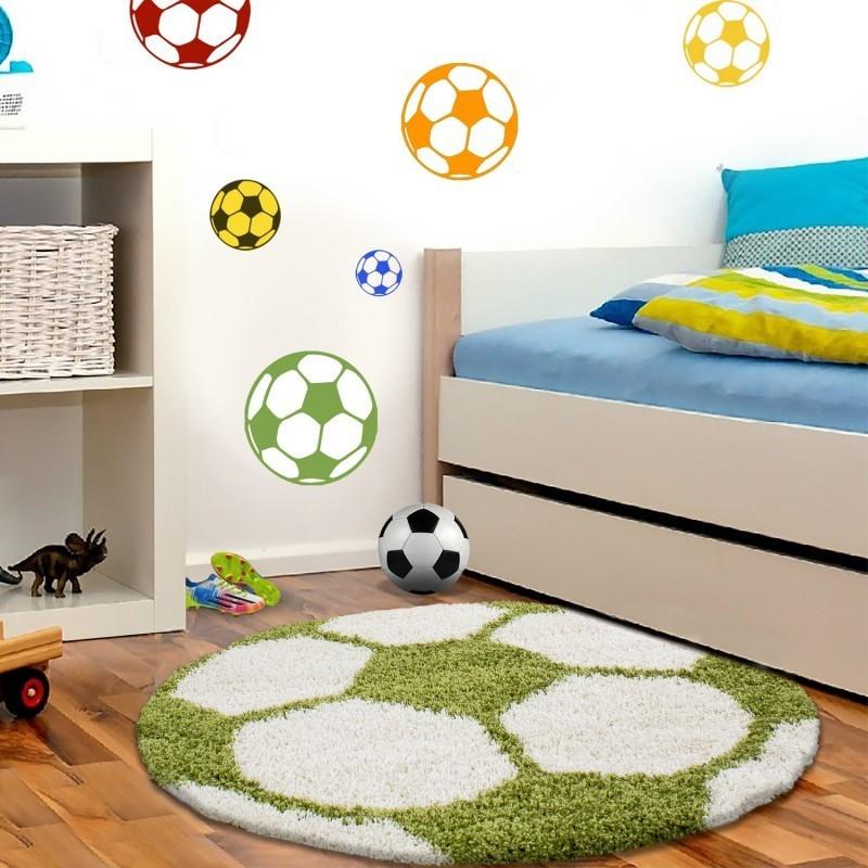 Kinderteppich per Bambini di Calcio forma Hochflor Tappeto Verde-Bianco