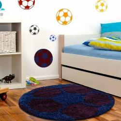 Tapis Enfant Football pour Chambre d'enfant Bordeaux-Bleu fonce