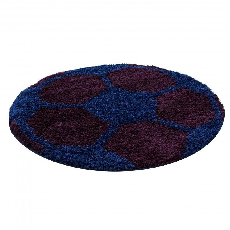 Kinderteppich für Kinderzimmer Fussball form Hochflor Teppich Bordeaux-Navy
