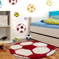 Kinderteppich für Kinderzimmer Fussball form Hochflor Teppich Rot-Weiss