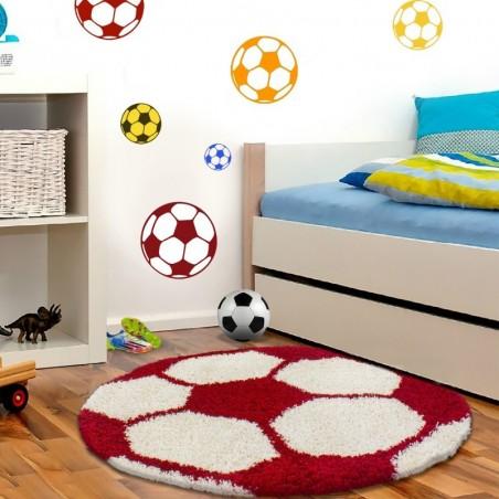 Tapis Enfant Football pour Chambre d'enfant Rouge-Blanc
