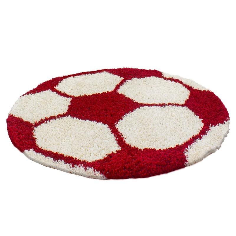 Kinderteppich per Bambini di Calcio forma Hochflor Tappeto Rosso-Bianco
