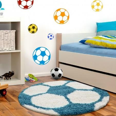 Kinderteppich per Bambini di Calcio forma Hochflor Tappeto Turchese-Bianco