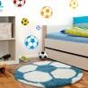 Children Carpet Rug Football form Turquoise-White