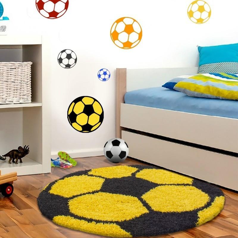 kinderteppich f r kinderzimmer fussball form hochflor teppich gelb schwarz. Black Bedroom Furniture Sets. Home Design Ideas