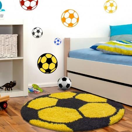 Tapis Enfant Football pour Chambre d'enfant Jaune-Noir