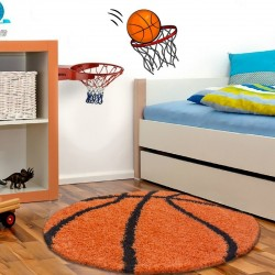 Children Carpet Rug Basketball form Orange-Black