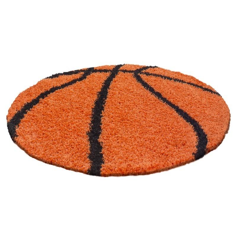 Kinderteppich per Bambini Basket forma Hochflor Tappeto Arancione-Nero