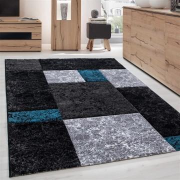 Designer Teppich Modern Kariert Muster Konturenschnitt Schwarz Grau Turkis