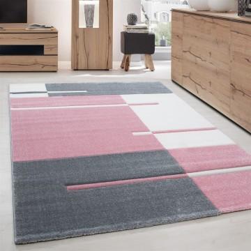 Designer Teppich Modern Kariert Linien Muster Konturenschnitt Grau Weiß Pink