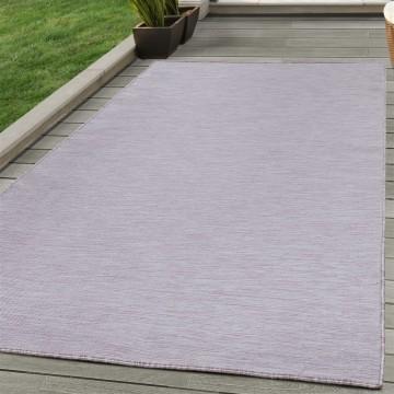 Teppich Sisal optik Flachgewebe Terrassen In- Outdoor Meliert Pink Creme
