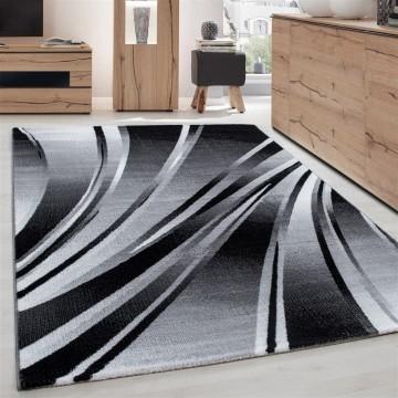 Teppich Modern Designer Geometrisch Wellen Optik Meliert Schwarz Grau Weiss