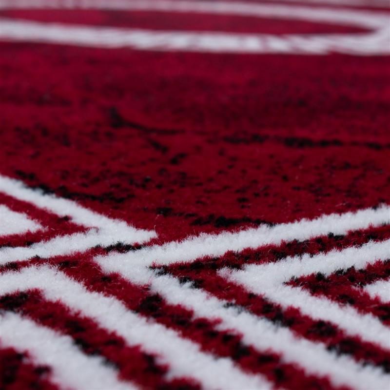 Tapis Design Moderne Bordure Ornement De Marbre Optique Noir Rouge Blanc