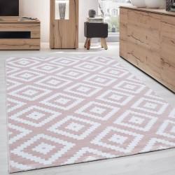 Moderner Wohnzimmer Elegance designer Teppich Kurzflor Puderrosa Weiß