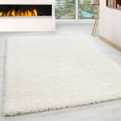 Shaggy Rug Long Pile Carpet Single Color Cream
