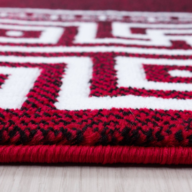 Teppich Modern Designer Geometrisch bordüre versace Optik Schwarz Rot Weiß