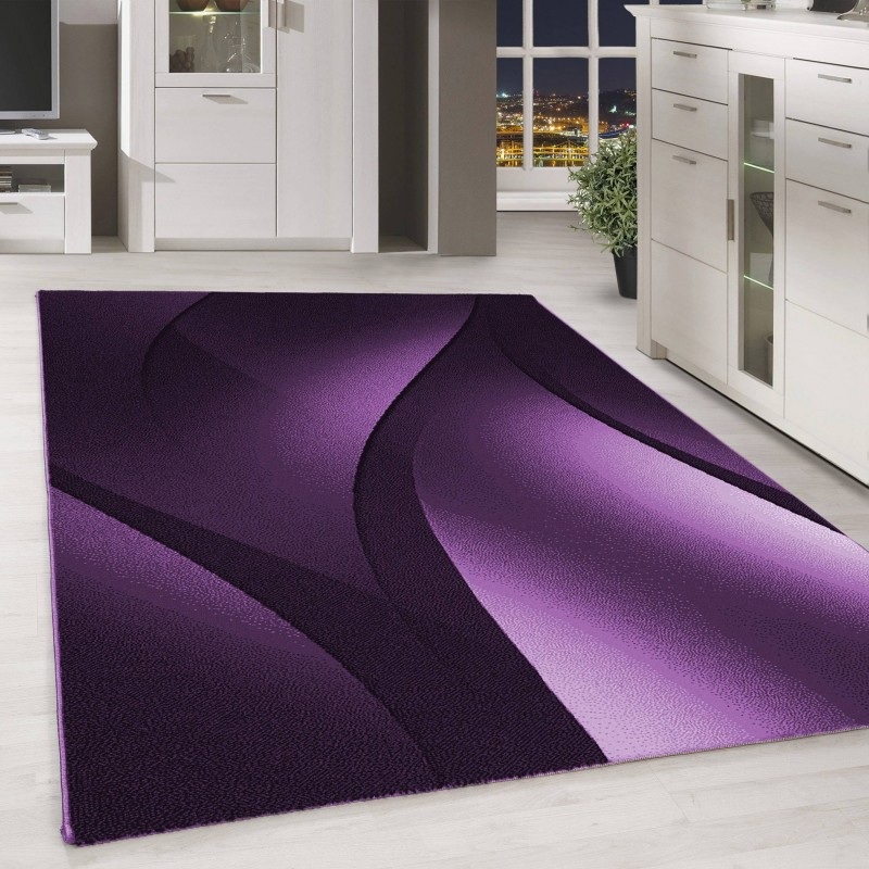 Designer Rug In A Modern, Low Pile Abstract Waves And Optics Black, White, Purple