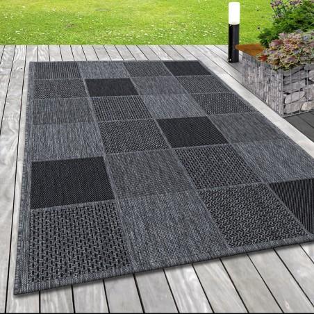Indoor Outdoor-Teppich Sisal Optik Karo Webmuster Design Terassen Teppich Grau