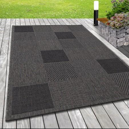 Indoor Outdoor-Teppich Sisal Optik Karo Webmuster Design Terassen Teppich Taupe