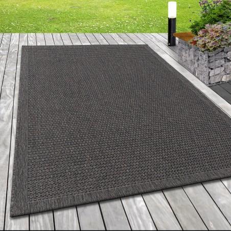 Indoor Outdoorteppich Sisal Optik Webmuster Motiv Bordüre Terassen Teppich Taupe