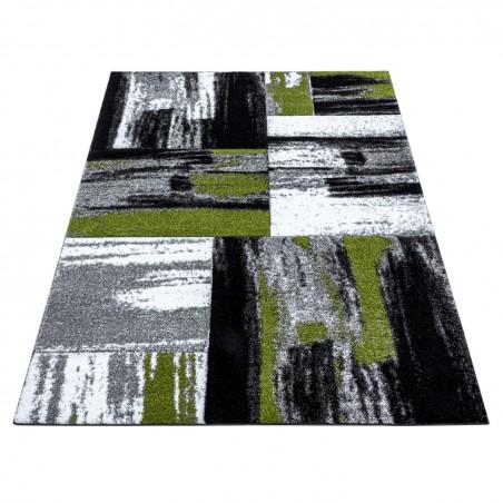 Kurzflor Wohnzimmerteppich Abstrakt Design Teppich Soft Grün Schwarz Grau