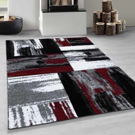 Kurzflor Wohnzimmerteppich Abstrakt Design Teppich Soft Rot Schwarz Grau