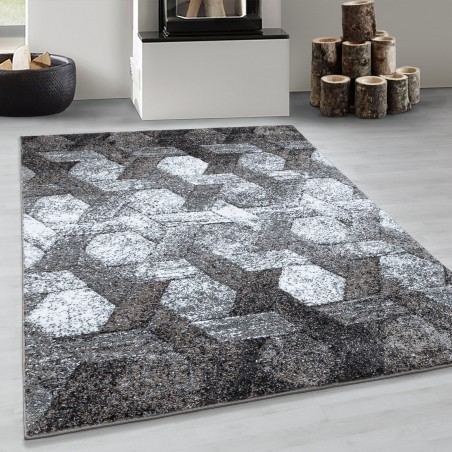 Design Kurzflor Wohnzimmerteppich Hexagon Motiv Teppich Soft Braun Beige Creme
