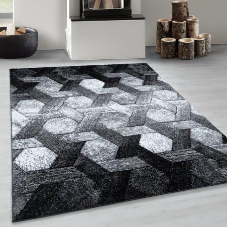 Design Kurzflor Wohnzimmerteppich Hexagon Motiv Teppich Soft Schwarz Grau Weiss