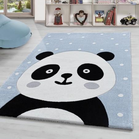 Kinderteppich Panda Tier Kinderzimmer Teppich Motiv Hochwertig Soft Pastell Blau