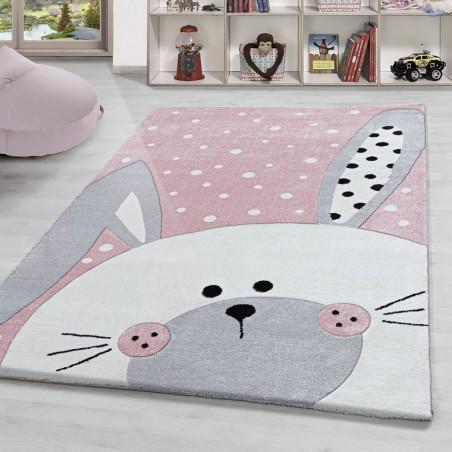 Kinderteppich Motiv Hase Kinderzimmerteppich Hochwertig Soft Kurzflor Rosa Weiss