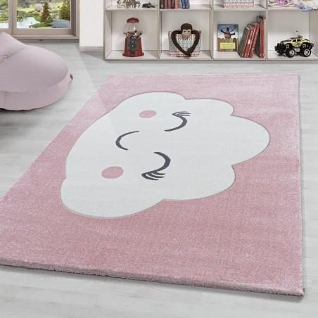 Kinderteppich Happy Wolke Kurzflor Kinderzimmer Babyzimmerteppich Rosa Weiss