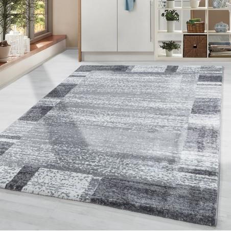 Wohnzimmerteppich Kurzflor Soft Weich Moderne Bordüre gemustert Grau Weiss