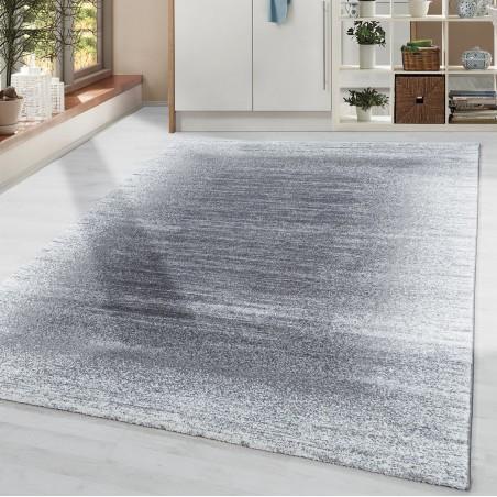 Wohnzimmerteppich Kurzflor Modernes Design Bordüre Hell Soft Flor Grau Creme
