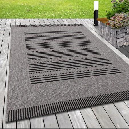 Flachgewebe Teppich Indoor Outdoor-Teppich Sisal Optik Linien Motiv Schwarz Grau