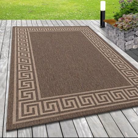 Flachgewebe Teppich Indoor Outdoor-Teppich Sisal Optik Bordüre Römisch Braun