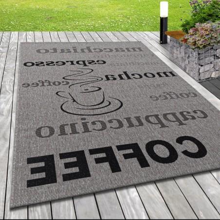 Flachgewebe Teppich Indoor Outdoor-Teppich Sisal Optik Design Coffee Grau