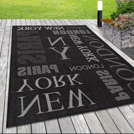 Indoor Outdoor-Teppich Sisal Optik Design London Big City New York Anthrazit
