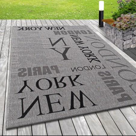 Indoor Outdoor-Teppich Sisal Optik Design London Big City New York Paris Grau