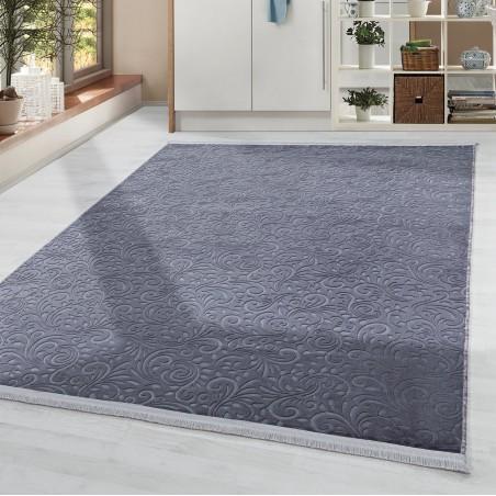 Soft Wohnzimmerteppich Teppich Waschbar Rutschfest Ranken Motiv Anthrazit