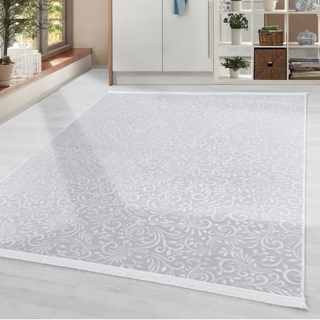 Soft Wohnzimmerteppich Teppich Waschbar Rutschfest Ranken Blumen Motiv Beige