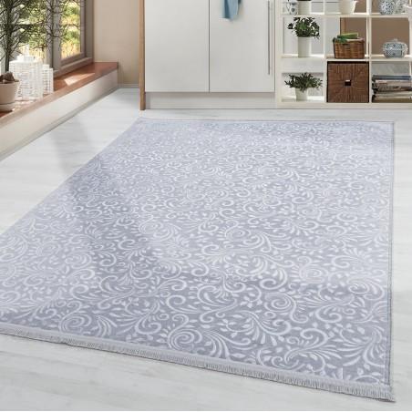 Soft Wohnzimmerteppich Teppich Waschbar Rutschfest Ranken Blumen Motiv Grau