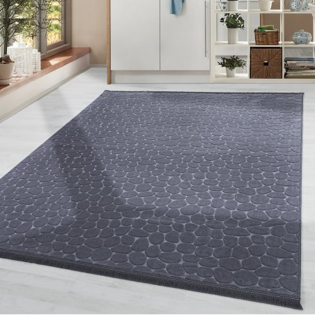 Soft Wohnzimmerteppich Teppich Waschbar Rutschfest Steinboden Motiv Anthrazit