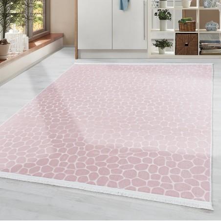 Soft Wohnzimmerteppich Teppich Waschbar Rutschfest Steinboden Motiv Rosa