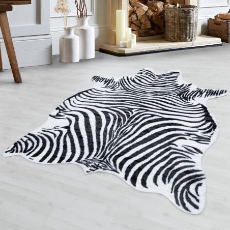 Fellimitat Kunstfell Zebra Tierfell Motiv Waschbar Rutschfest Soft Schwarz Weiss
